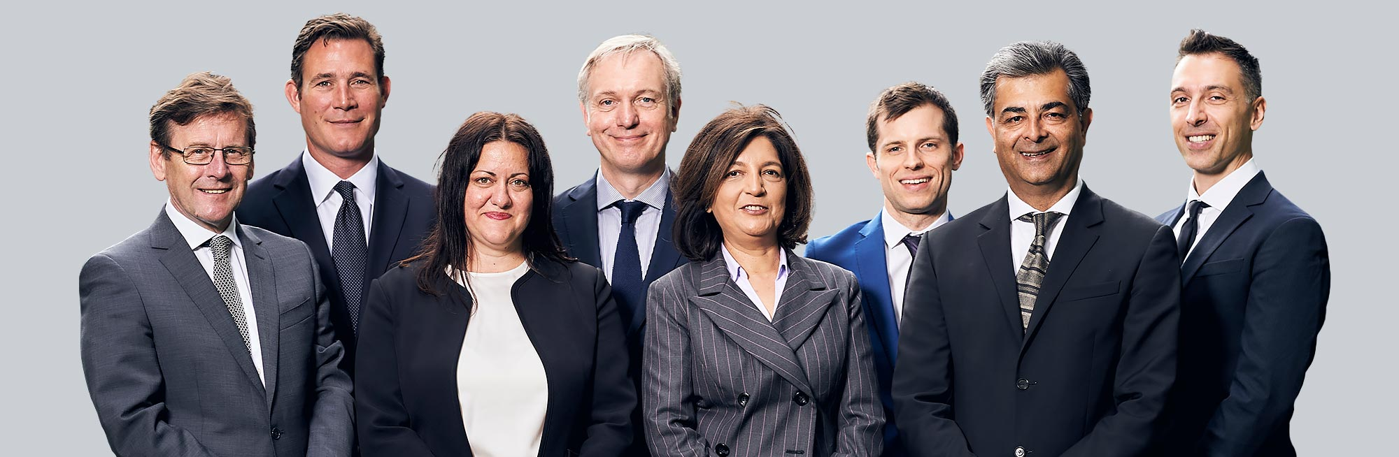 A colour image of the Westhill Team against a grey background used on the Overview page of the Westhill real estate development website