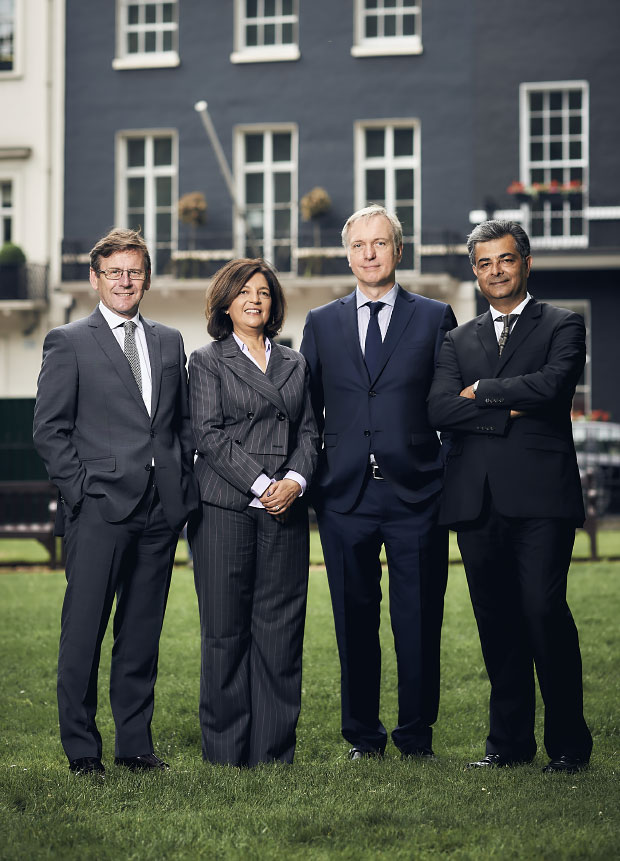 A colour image of the Westhill Property Investment executive management team, Rita Dattani, Minesh Sheta, David Palmer and Chris Hough - our people page