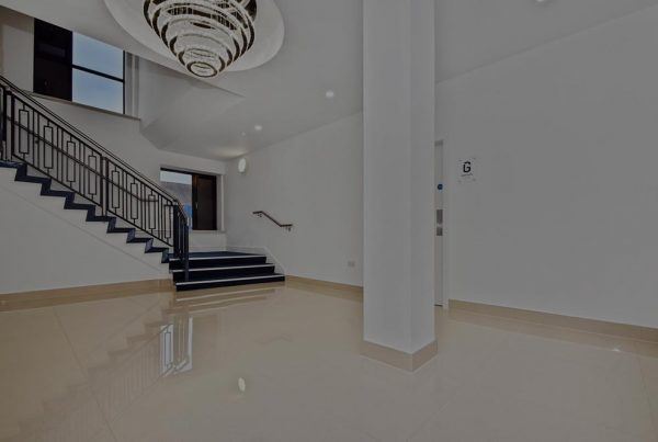 A colour image of the marble floor and staircase at 5 The Boulevard - an office to residential development by Westhill Real Estate Investors