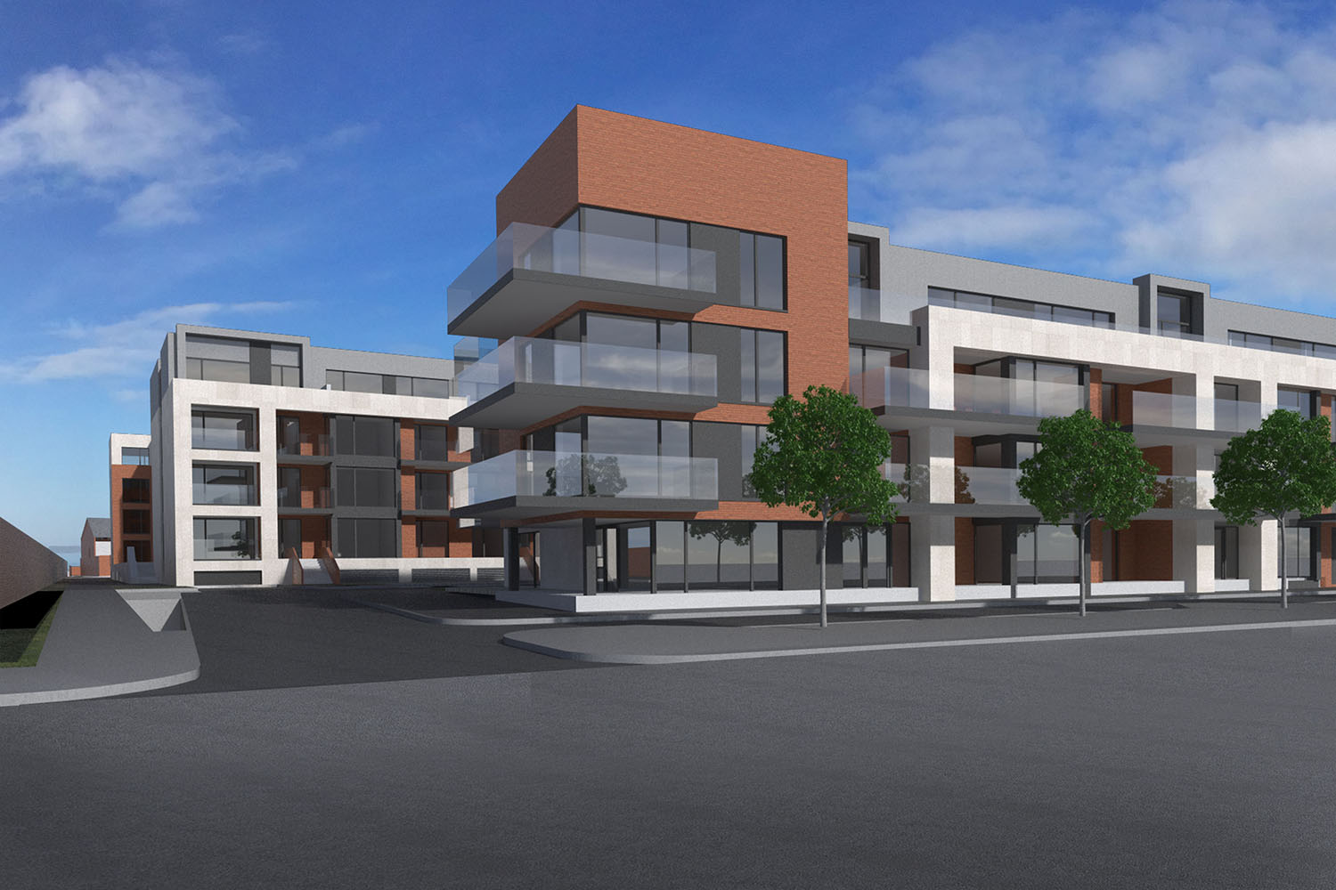 A colour CGI image showing a view of houses at the Botanic Road, Dublin 9 Glasnevin residential development of Westhill