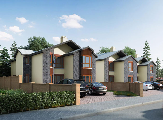 A colour CGI image showing a view of houses at the Ledwidge Hall Green, Slane, residential development of Westhill-gallery