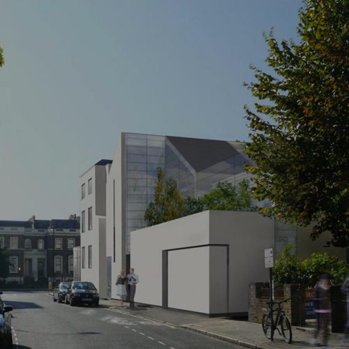 A colour CGI image with tint of the Goldhawk, Hammersmith public house to apartment property development of Westhill