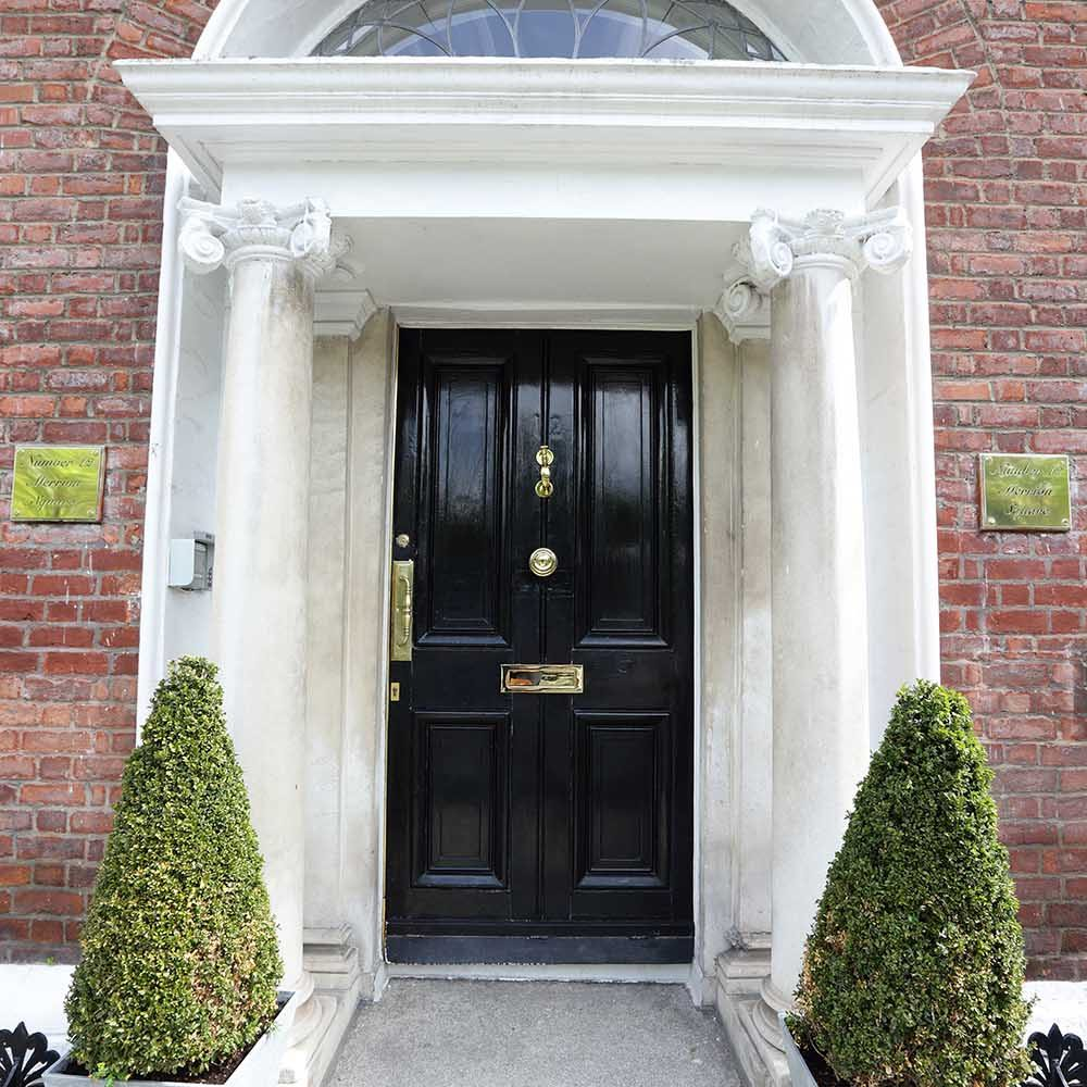 A colour image of the front door of 12 Merrion Square, Dublin 2. a Georgian serviced office building investment of Westhill