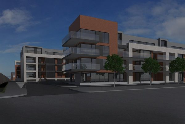A colour CGI image showing a view of houses at the Botanic Road, Dublin 9 residential development of Westhill