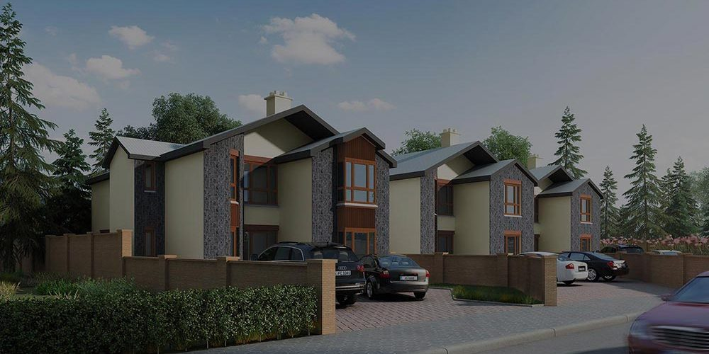 A colour CGI image showing a view of houses at the Ledwidge Hall Green, Slane, residential development of Westhill