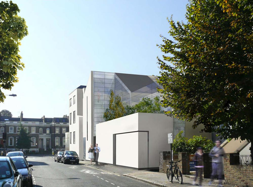 A colour CGI image of the Goldhawk, Hammersmith public house to apartment property development of Westhill